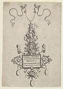 Title Page with Design for a Pendant from Omnis Generis Instrumenta Bellica