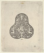 Vertical Panel with a Pear Shaped Design with a Mounted Soldier and Centaurs
