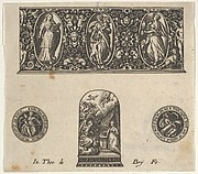 Horizontal Panel with Design for a Thimble with the Annuciation Below a Frieze with Three Figures in Ovals