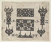 Blackwork Print with Two Horizontal Panels and Five Small Motifs