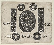 Blackwork Print with Two Vertical Panels Flanking an Oval at Center with Four Small Circles