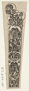 Design for a Knife Handle with a Couple Gathered Around a Fire at Bottom
