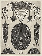 Title Plate with Blackwork Motifs, Trophies and Grotesques, from a Series of Blackwork Prints for Goldsmiths' Work