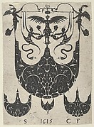 Blackwork Print with a Bezel Supporting Grotesques Above Three Smaller Bezels, from a Series of Blackwork Prints for Goldsmiths' Work