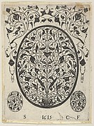 Blackwork Print with Foliate Scrolls in an Oval at Center, from a Series of Blackwork Prints for Goldsmiths' Work