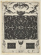 Blackwork Print with Birds and Grotesques Atop a Horizontal Panel, from a Series of Blackwork Prints for Goldsmiths' Work