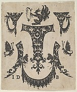 Blackwork Print with Five Ornament Motifs, a Pair of Butterflies and a Grotesque
