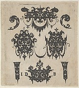 Blackwork Print with Four Shweifwerk Motifs Decorated with Swag Combined with Four Small Fillets