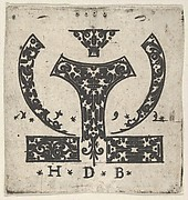 Blackwork Print with Two Horizontal Panels Below a Pair of Lunar-Shaped Fillets with Two Motifs at Center
