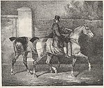 Two Horses Exercised by a Jockey