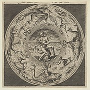 Design for a Plate with Arion Riding a Dolphin in a Medallion Bordered by Sea Monsters