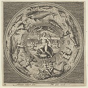 Design for a Plate with Galatea on a Shell Flanked by Trumpeters in a Medallion Bordered by Sea Monsters
