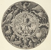 'Aer' in a Decorative Border with Birds, from a Series of Circular Designs with the Four Elements