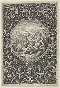 Neptune in a Decorative Frame with Grotesques, from the Judgment of Paris