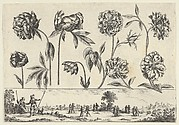 Horizontal Panel with a Row of Flowers Above a Frieze with Figures in a Landscape, from Livre Nouveau de Fleurs Tres-Util