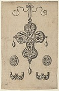 Design for the Verso of a Cross-Shaped Pendant Above a Pair of Oval Ornaments and Axe-Shaped Ornaments