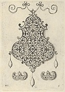 Design for the Verso of a Pendant with an Oval Motif Between Strapwork