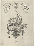 Pendant Design with a Sea Monster Carrying Neptune Flanked by Two Figures with Horns