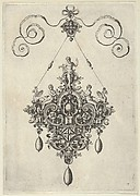 Pendant Design with Apollo Standing on an Arch Flanked by Female Figures Holding Fruit
