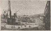 View of the Quirinal Hill in Rome with the fountain of the horse tamers at left