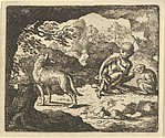 The Wolf in in the She-Monkey's Cave Where the Renard Convinced Him to Enter in Order to Make Fun of Him  from Hendrick van Alcmar's Renard The Fox