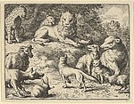 Renard is Accused by the Animals Before the Lion from Hendrick van Alcmar's Renard The Fox