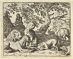Renard Falsely Accuses His Father of Conspiring Againt the Lion from Hendrick van Alcmar's Renard The Fox