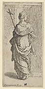 Girl carrying a crucifix and stepping toward a pilaster, seen from behind