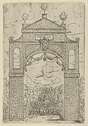 Triumphal arch covered in foliage with mounted troops below, a temporary decoration for the entry of Pope Clement VIII in Bologna in 1598