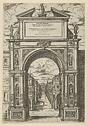 Triumphal arch surmounted by a statue representing the city of Bologna, buildings seen through the arch below, a temporary decoration for the entry of Pope Clement VIII in Bologna in 1598
