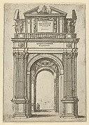 Triumphal arch surmounted by woman seated on a dolphin, four standing figures below, a temporary decoration for the entry of Pope Clement VIII in Bologna in 1598