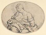 The Virgin holding the infant Christ, an oval composition