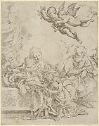 The Holy Family with young John the Baptist and Saint Elizabeth, two angels above