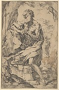 Saint Jerome kneeling on a rock in front of a cross and an open book facing left