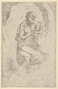 Saint Jerome kneeling on a rock facing right, after Reni