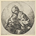 The Virgin holding the infant Christ with the fingers of her right hand hidden, a circular composition