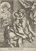 The Virgin seated with the Christ Child on her lap embracing her, Joseph seen through an archway at left