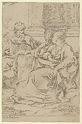 The Holy Family seated together in front of a collonade, Saint Joseph reading and the young Christ grasping the Virgin's drapery