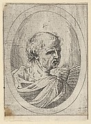 An apostle seen from behind and turning to the right, holding an open book, in an oval frame, from Christ, the Virgin, and Thirteen Apostles