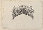Arched framing element for banknote, with acanthus and vine leaves, lily and grapes