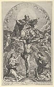 The Holy Trinity; Christ on the cross flanked by two angels, the Holy Spirit as a dove and God in heaven above the cross, a rectangular composition with half-circle at the top, after Reni
