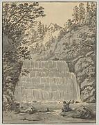 A Waterfall in Switzerland (near Lausanne?) with a Resting Wayfarer
