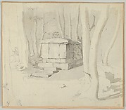 A Stone Tomb in a Forest; verso: Study of a Flower