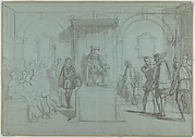 King Christian IV of Denmark Judging Christoffer Rosenkrantz; verso: Don Quixote and Others Attending Master Peter's Puppet Show