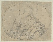 The Virgin holding the infant Christ, an oval composition, counterproof