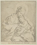 The Virgin holding the infant Christ, after Reni, counterproof