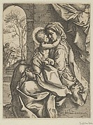 The Virgin seated with the Christ Child on her lap embracing her, Joseph seen through an archway at left, after Reni