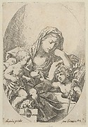 The Virgin with the Christ Child and the young Saint John the Baptist handing Christ a bird at right, after Reni