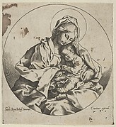 The Virgin holding the infant Christ, a circular composition, after Reni