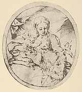 The Virgin with the infant Christ seated on a cushion and the young Saint John the Baptist at his feet, an oval composition